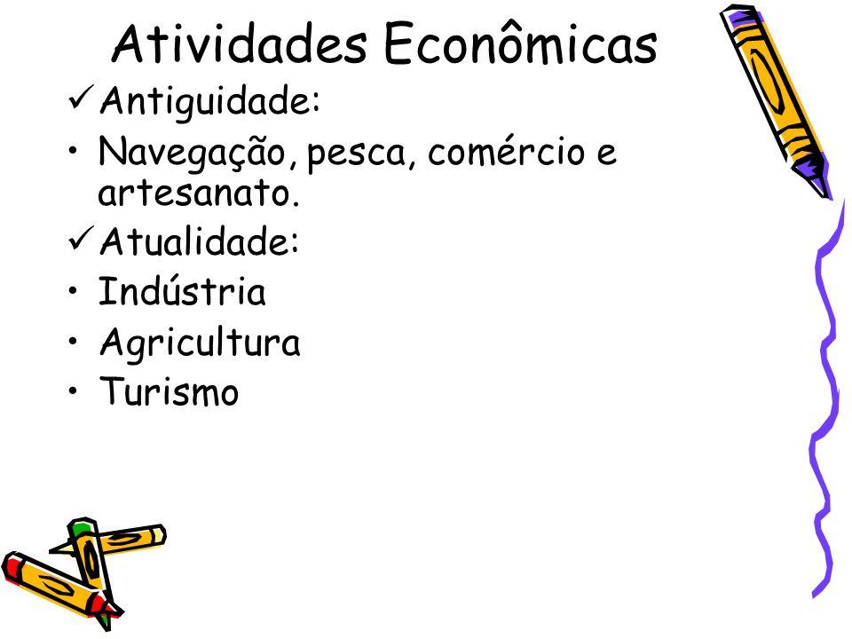 Atividades Econômicas Antiguidade: Navegação, pesca, comércio e artesanato. Atualidade: Indústria Agricultura Turismo