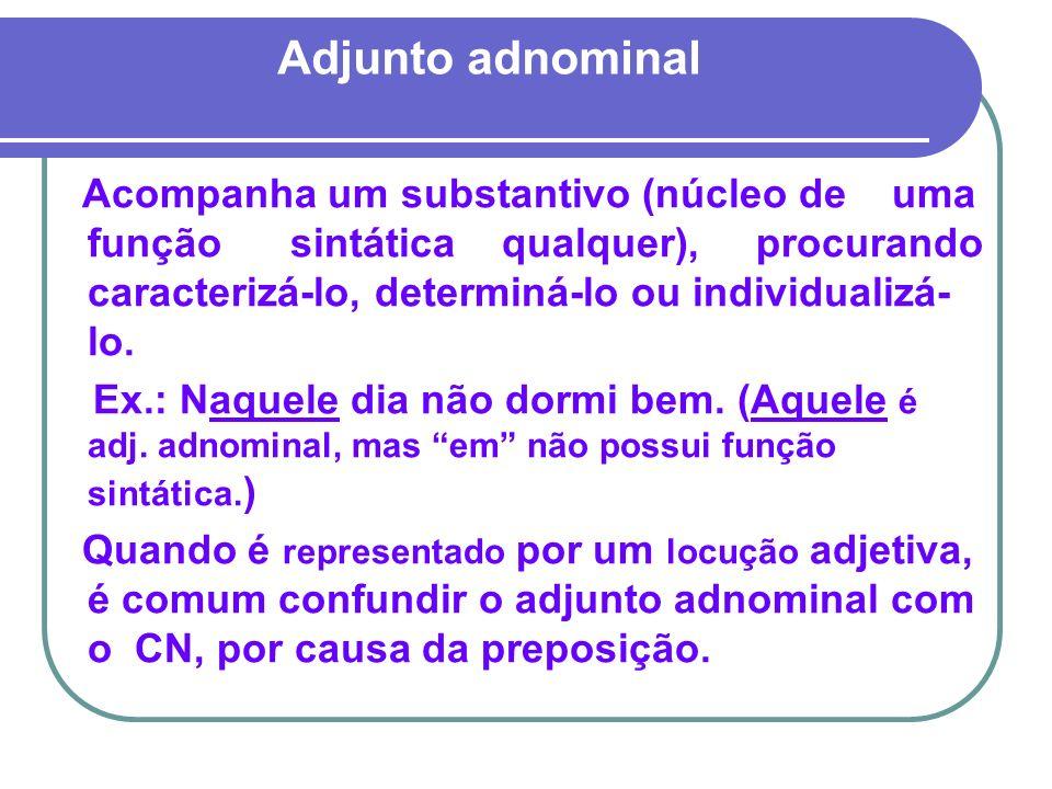 Adjunto adnominal Acompanha um substantivo (núcleo de uma função sintática qualquer), procurando caracterizá-lo, determiná-lo ou individualizá- lo. Ex