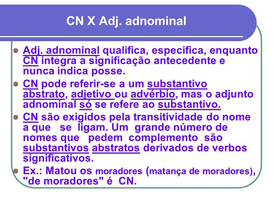 CN X Adj. adnominal Adj. adnominal qualifica, especifica, enquanto CN integra a significação antecedente e nunca indica posse. CN pode referir-se a um