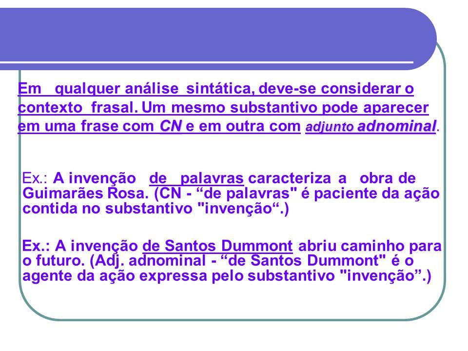 Ex.: A invenção de palavras caracteriza a obra de Guimarães Rosa. (CN - de palavras