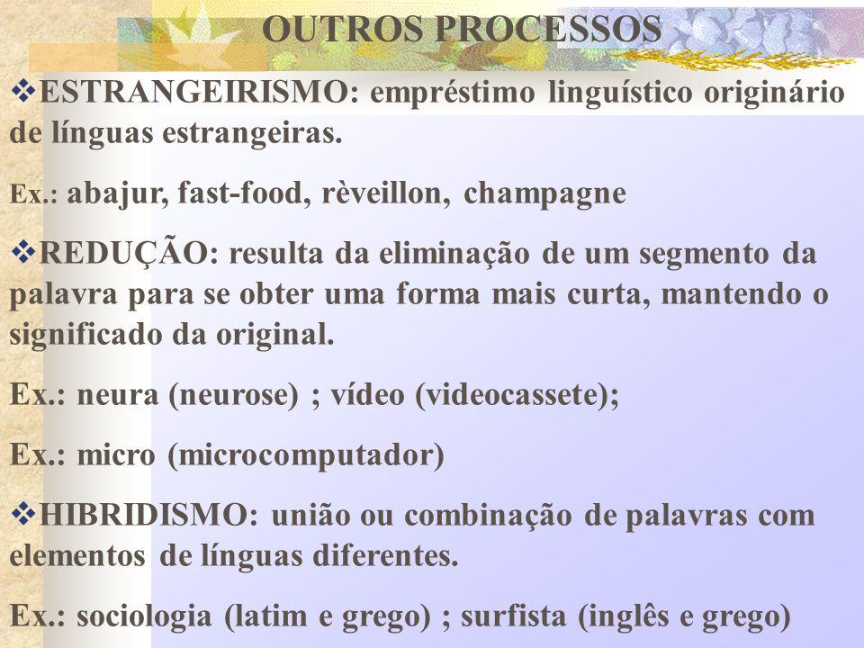 OUTROS PROCESSOS ESTRANGEIRISMO: empréstimo linguístico originário de línguas estrangeiras.