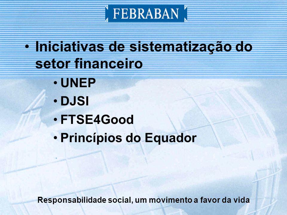 Responsabilidade social, um movimento a favor da vida Iniciativas de sistematização do setor financeiro UNEP DJSI FTSE4Good Princípios do Equador
