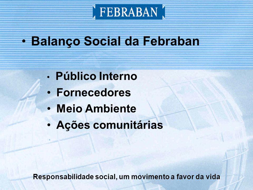 Responsabilidade social, um movimento a favor da vida Balanço Social da Febraban Público Interno Fornecedores Meio Ambiente Ações comunitárias