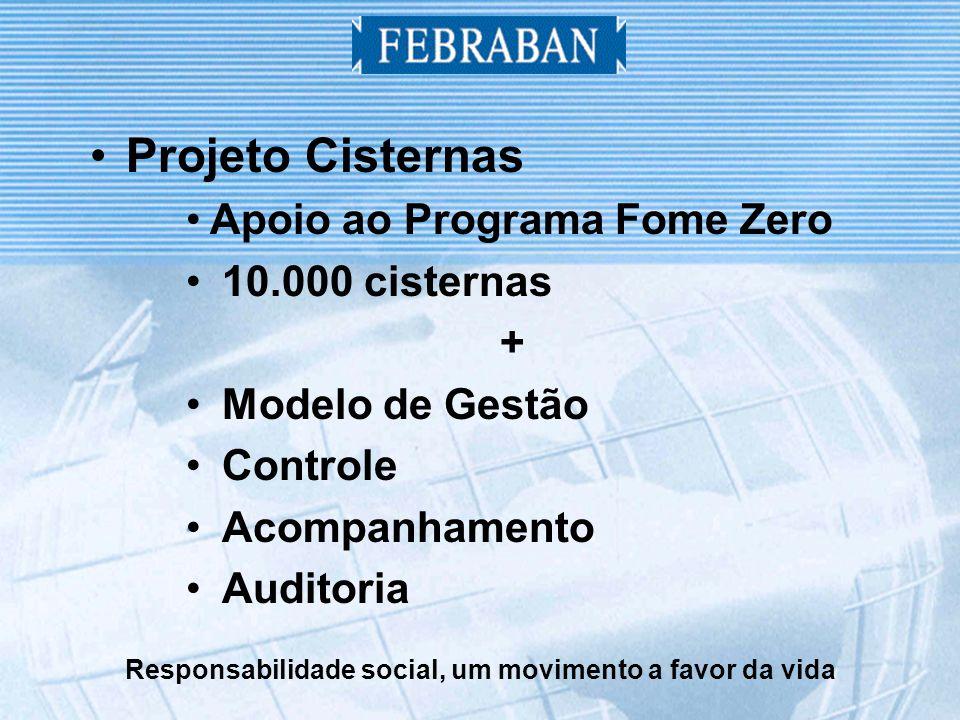 Responsabilidade social, um movimento a favor da vida Projeto Cisternas Apoio ao Programa Fome Zero 10.000 cisternas + Modelo de Gestão Controle Acompanhamento Auditoria