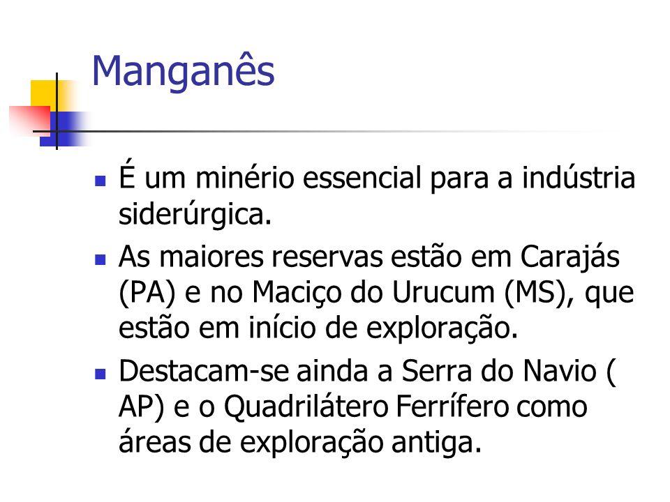 Manganês É um minério essencial para a indústria siderúrgica. As maiores reservas estão em Carajás (PA) e no Maciço do Urucum (MS), que estão em iníci