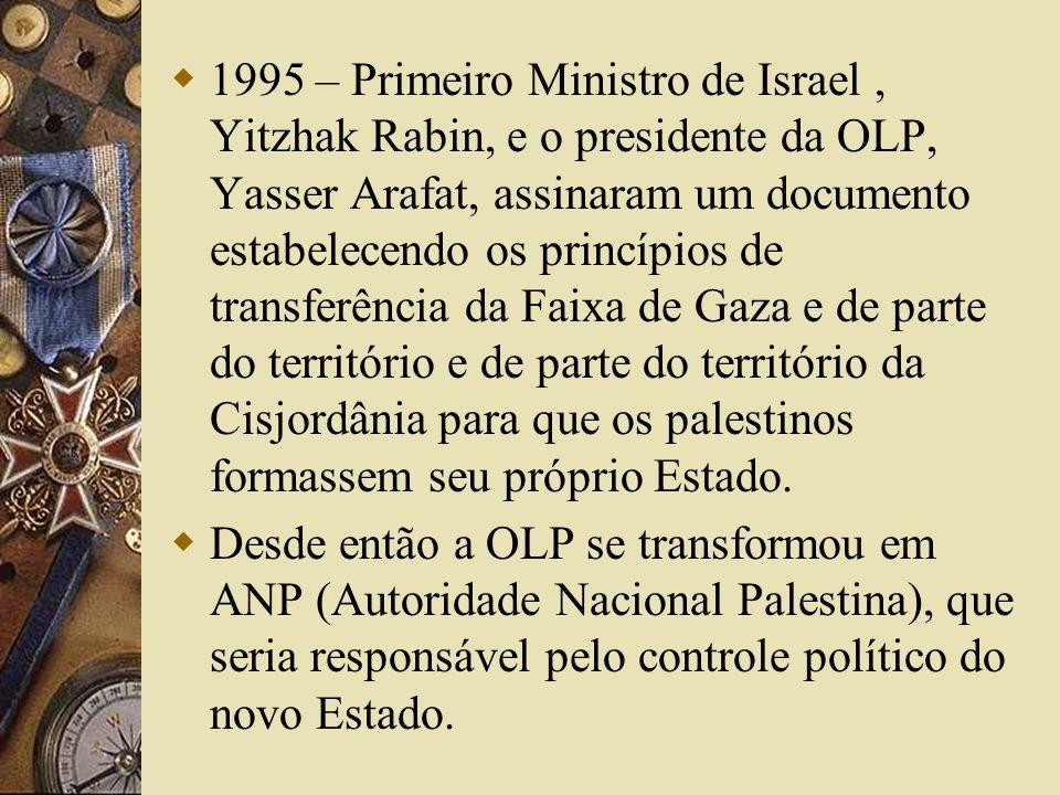 1995 – Primeiro Ministro de Israel, Yitzhak Rabin, e o presidente da OLP, Yasser Arafat, assinaram um documento estabelecendo os princípios de transferência da Faixa de Gaza e de parte do território e de parte do território da Cisjordânia para que os palestinos formassem seu próprio Estado.