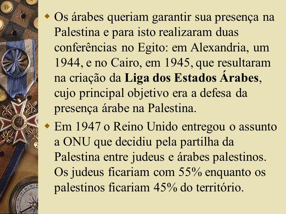 Os árabes queriam garantir sua presença na Palestina e para isto realizaram duas conferências no Egito: em Alexandria, um 1944, e no Cairo, em 1945, que resultaram na criação da Liga dos Estados Árabes, cujo principal objetivo era a defesa da presença árabe na Palestina.