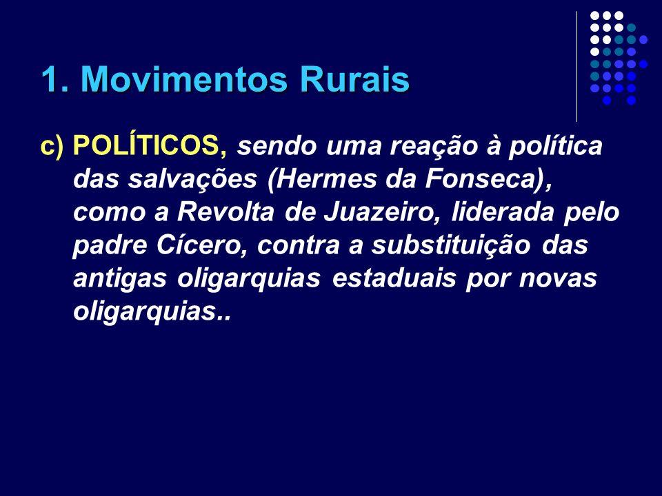 1. Movimentos Rurais c) POLÍTICOS, sendo uma reação à política das salvações (Hermes da Fonseca), como a Revolta de Juazeiro, liderada pelo padre Cíce