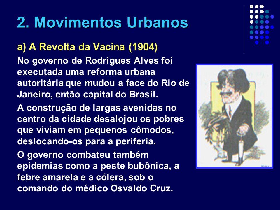 2. Movimentos Urbanos a) A Revolta da Vacina (1904) No governo de Rodrigues Alves foi executada uma reforma urbana autoritária que mudou a face do Rio