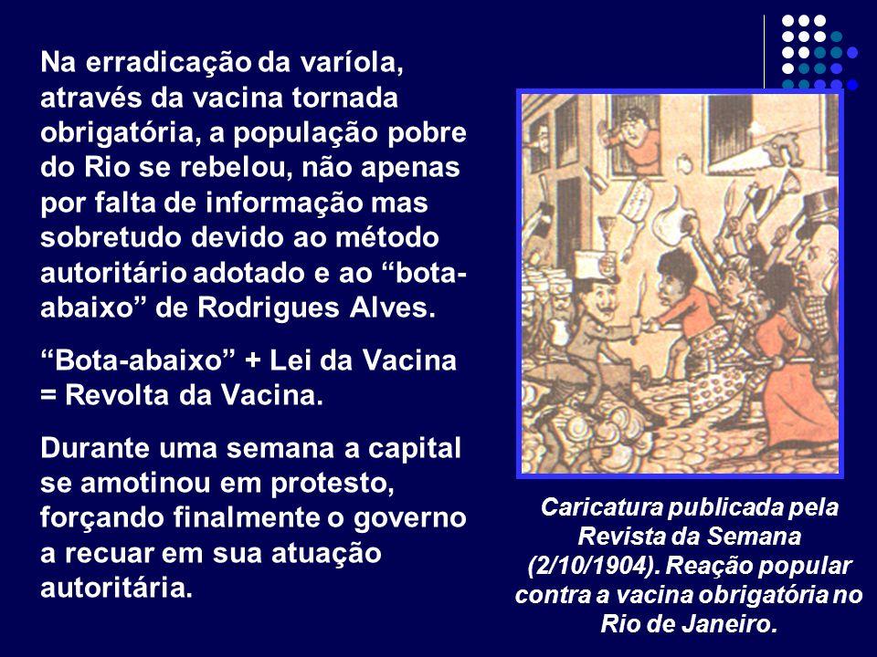 Na erradicação da varíola, através da vacina tornada obrigatória, a população pobre do Rio se rebelou, não apenas por falta de informação mas sobretud