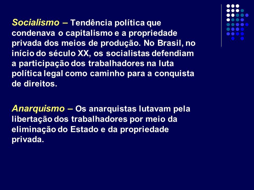 Socialismo – Tendência política que condenava o capitalismo e a propriedade privada dos meios de produção. No Brasil, no início do século XX, os socia