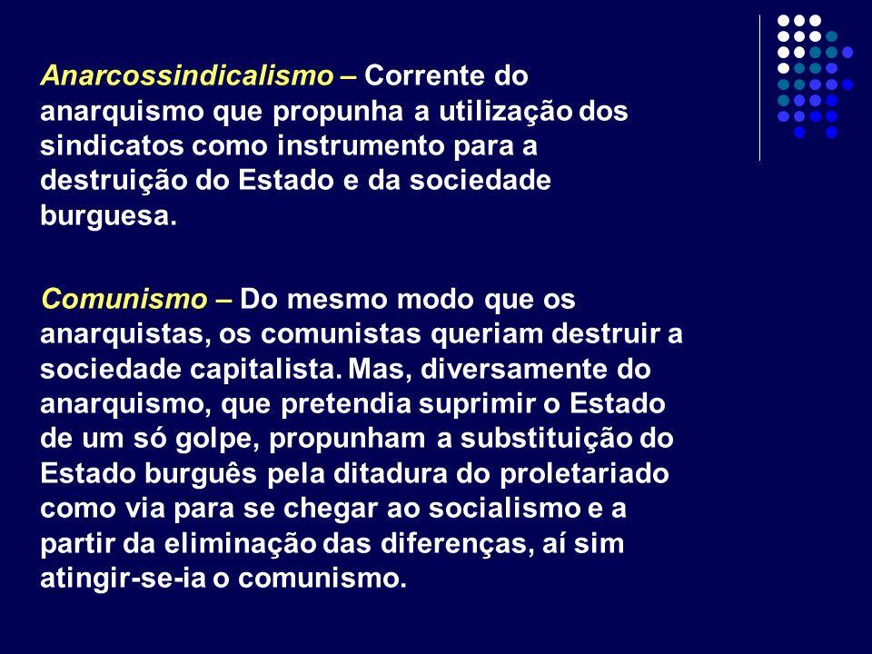 Anarcossindicalismo – Corrente do anarquismo que propunha a utilização dos sindicatos como instrumento para a destruição do Estado e da sociedade burg