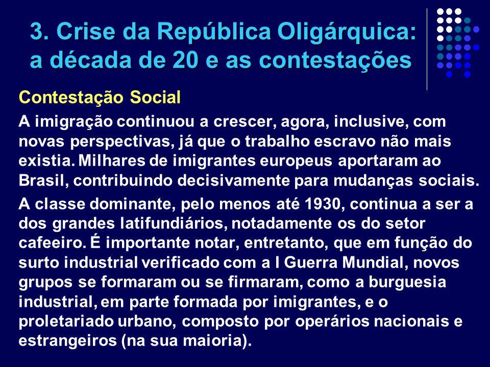 3. Crise da República Oligárquica: a década de 20 e as contestações Contestação Social A imigração continuou a crescer, agora, inclusive, com novas pe