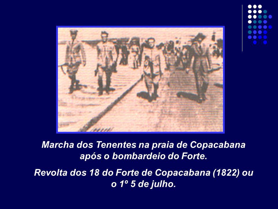 Marcha dos Tenentes na praia de Copacabana após o bombardeio do Forte. Revolta dos 18 do Forte de Copacabana (1822) ou o 1º 5 de julho.