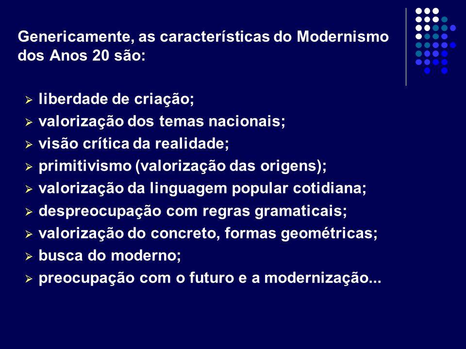 Genericamente, as características do Modernismo dos Anos 20 são: liberdade de criação; valorização dos temas nacionais; visão crítica da realidade; pr
