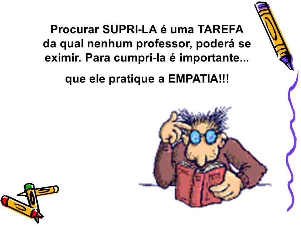 Procurar SUPRI-LA é uma TAREFA da qual nenhum professor, poderá se eximir. Para cumpri-la é importante... que ele pratique a EMPATIA!!!