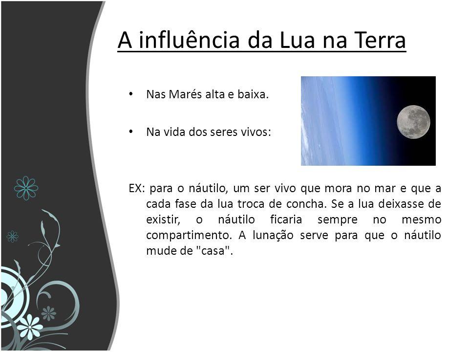 A influência da Lua na Terra Nas Marés alta e baixa.