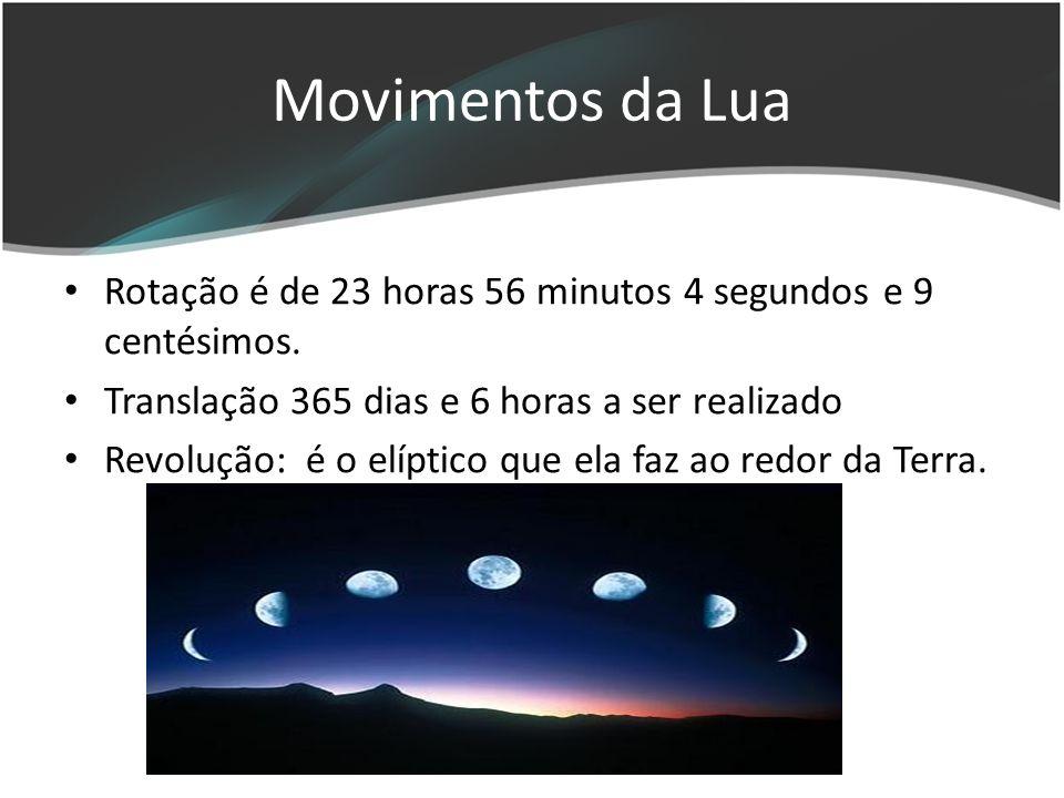 Movimentos da Lua Rotação é de 23 horas 56 minutos 4 segundos e 9 centésimos.