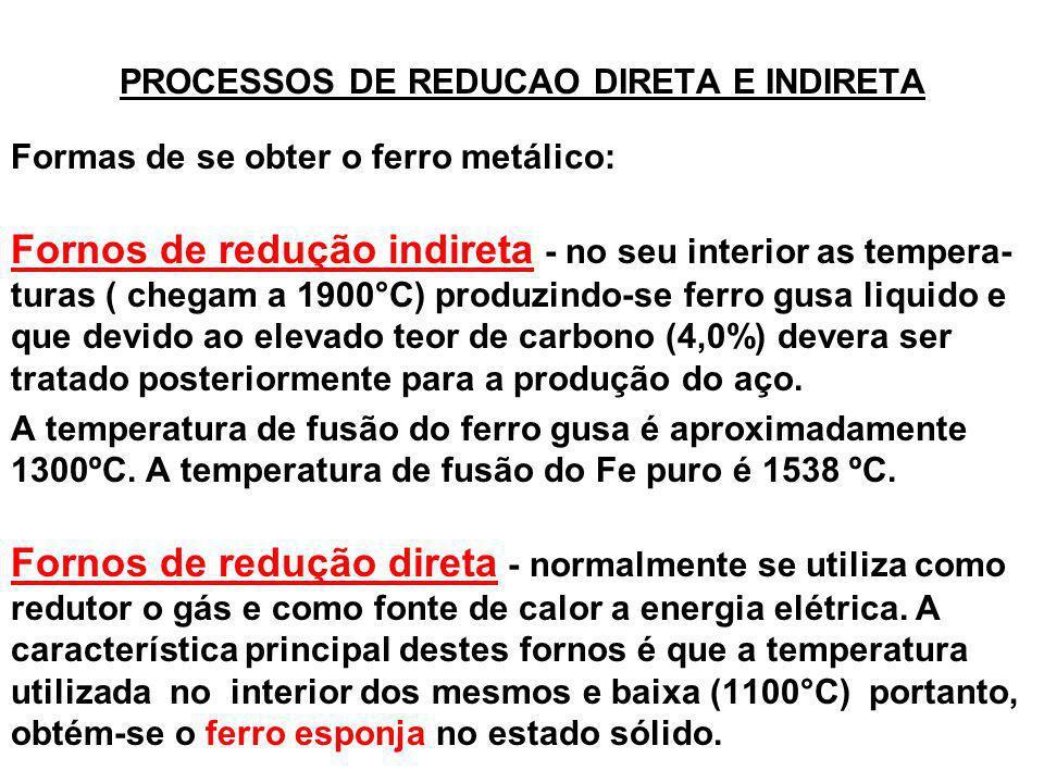 PROCESSOS DE REDUCAO DIRETA E INDIRETA Formas de se obter o ferro metálico: Fornos de redução indireta - no seu interior as tempera- turas ( chegam a