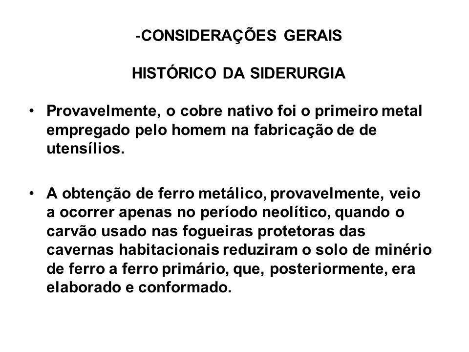 -CONSIDERAÇÕES GERAIS HISTÓRICO DA SIDERURGIA Provavelmente, o cobre nativo foi o primeiro metal empregado pelo homem na fabricação de de utensílios.