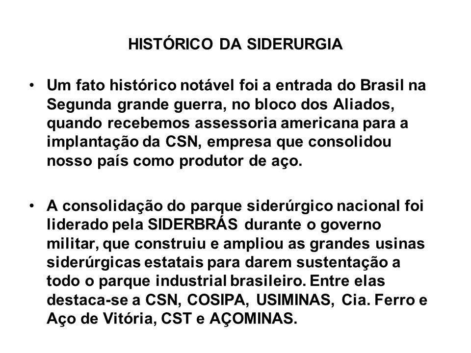 HISTÓRICO DA SIDERURGIA Um fato histórico notável foi a entrada do Brasil na Segunda grande guerra, no bloco dos Aliados, quando recebemos assessoria