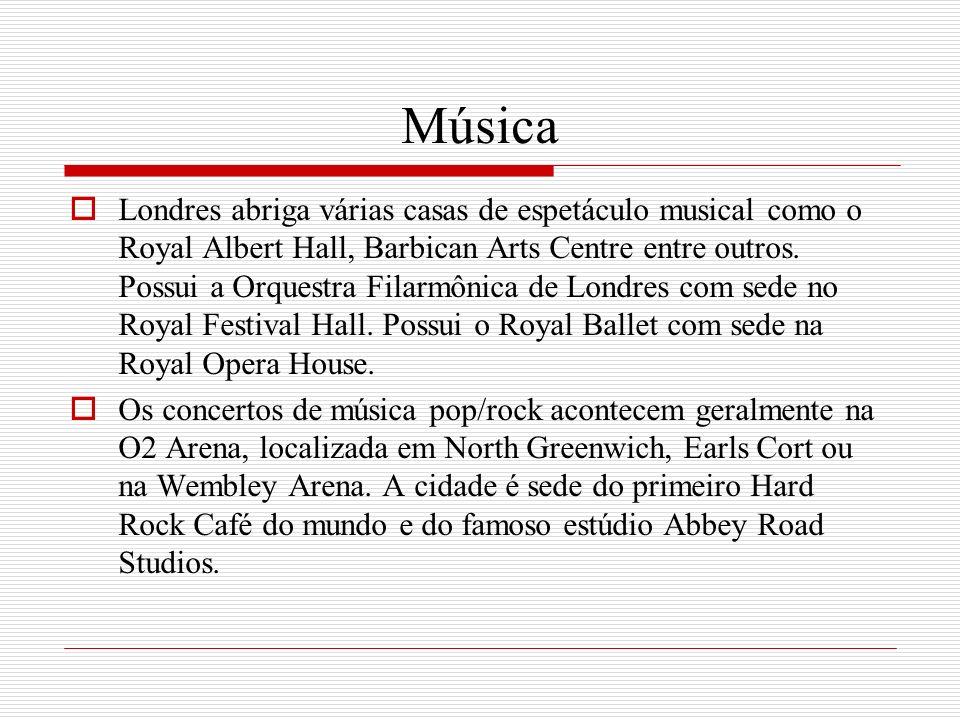 Música Londres abriga várias casas de espetáculo musical como o Royal Albert Hall, Barbican Arts Centre entre outros. Possui a Orquestra Filarmônica d