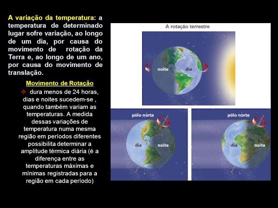 A variação da temperatura: a temperatura de determinado lugar sofre variação, ao longo de um dia, por causa do movimento de rotação da Terra e, ao lon
