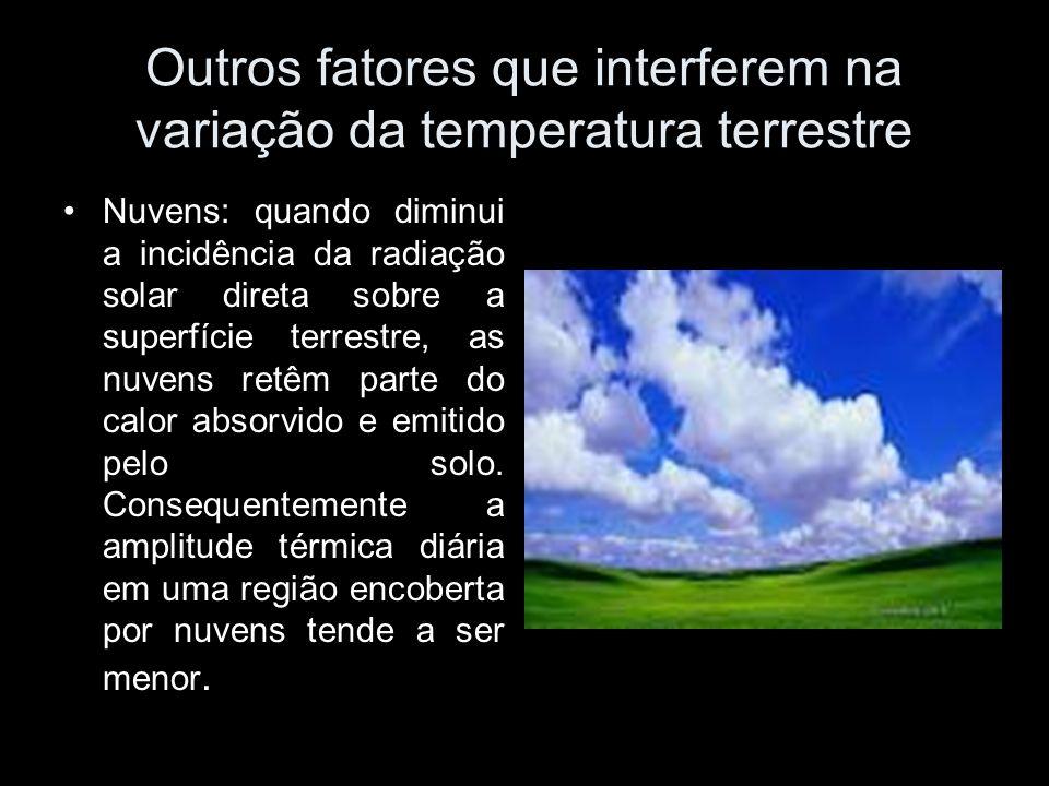 Outros fatores que interferem na variação da temperatura terrestre Nuvens: quando diminui a incidência da radiação solar direta sobre a superfície ter
