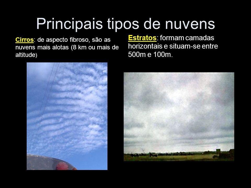 Principais tipos de nuvens Cirros: de aspecto fibroso, são as nuvens mais alotas (8 km ou mais de altitude ) Estratos: formam camadas horizontais e si