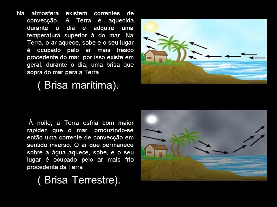 Na atmosfera existem correntes de convecção. A Terra é aquecida durante o dia e adquire uma temperatura superior à do mar. Na Terra, o ar aquece, sobe