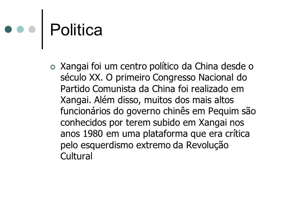 Politica Xangai foi um centro político da China desde o século XX. O primeiro Congresso Nacional do Partido Comunista da China foi realizado em Xangai
