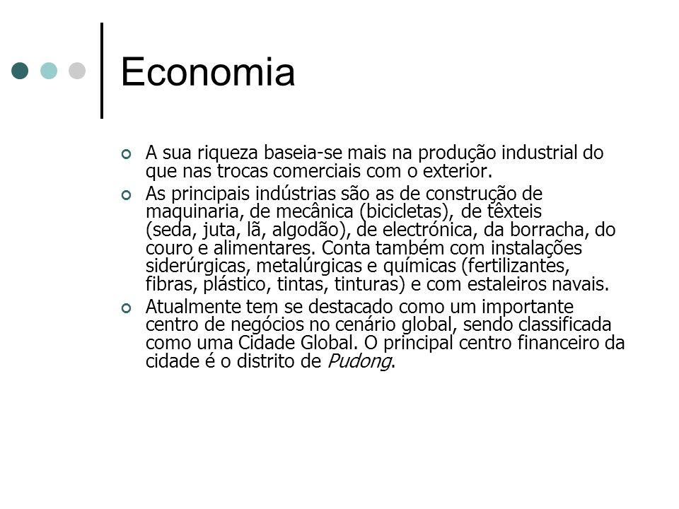 Economia A sua riqueza baseia-se mais na produção industrial do que nas trocas comerciais com o exterior. As principais indústrias são as de construçã