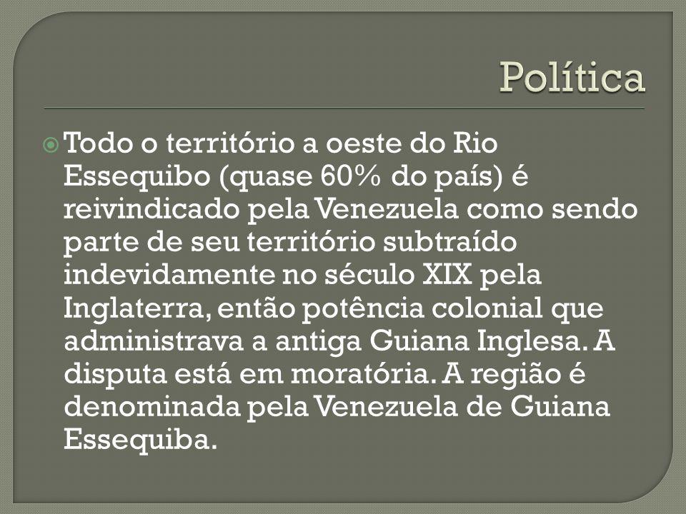 Todo o território a oeste do Rio Essequibo (quase 60% do país) é reivindicado pela Venezuela como sendo parte de seu território subtraído indevidament