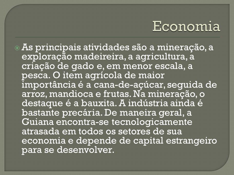 As principais atividades são a mineração, a exploração madeireira, a agricultura, a criação de gado e, em menor escala, a pesca. O item agrícola de ma