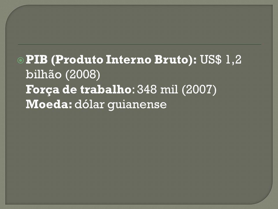 PIB (Produto Interno Bruto): US$ 1,2 bilhão (2008) Força de trabalho: 348 mil (2007) Moeda: dólar guianense