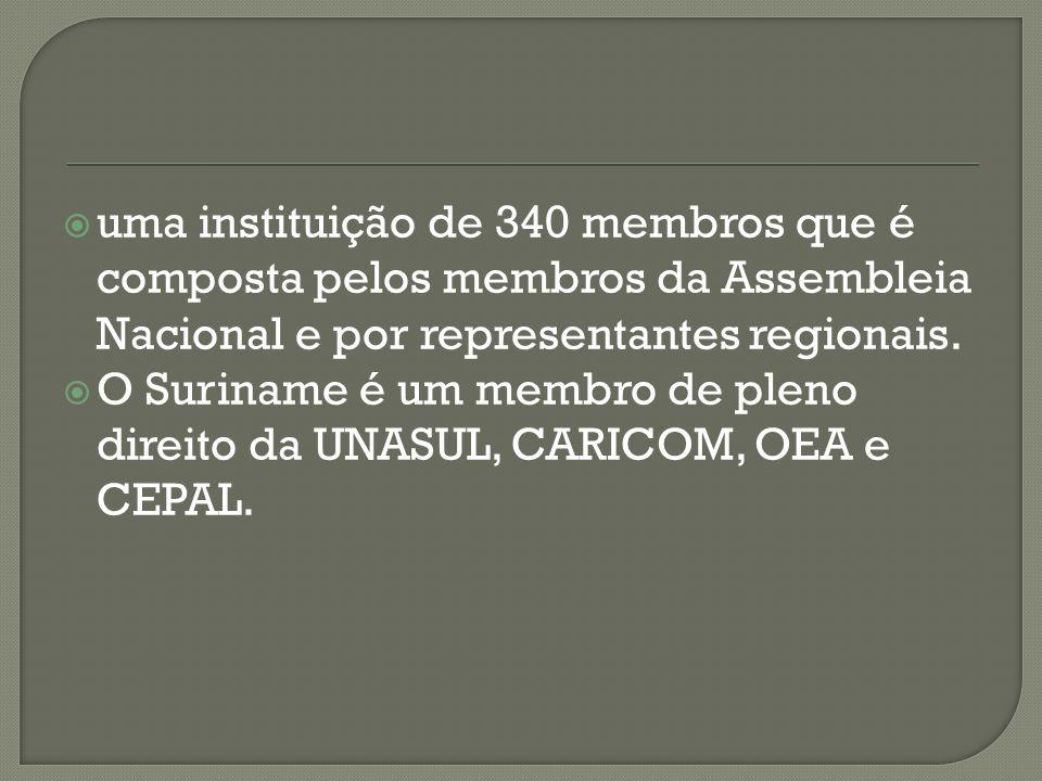 uma instituição de 340 membros que é composta pelos membros da Assembleia Nacional e por representantes regionais. O Suriname é um membro de pleno dir