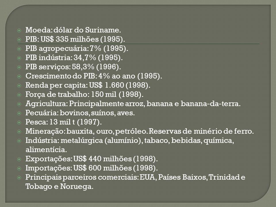 Moeda: dólar do Suriname. PIB: US$ 335 milhões (1995). PIB agropecuária: 7% (1995). PIB indústria: 34,7% (1995). PIB serviços: 58,3% (1996). Crescimen