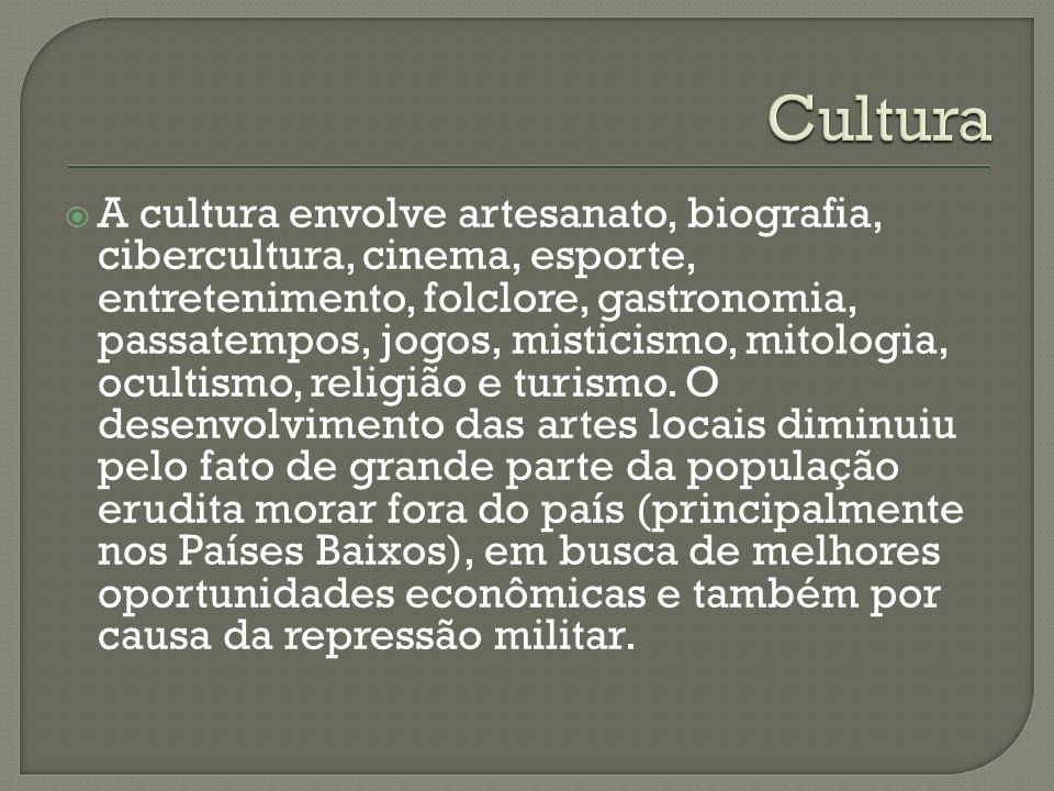 A cultura envolve artesanato, biografia, cibercultura, cinema, esporte, entretenimento, folclore, gastronomia, passatempos, jogos, misticismo, mitolog