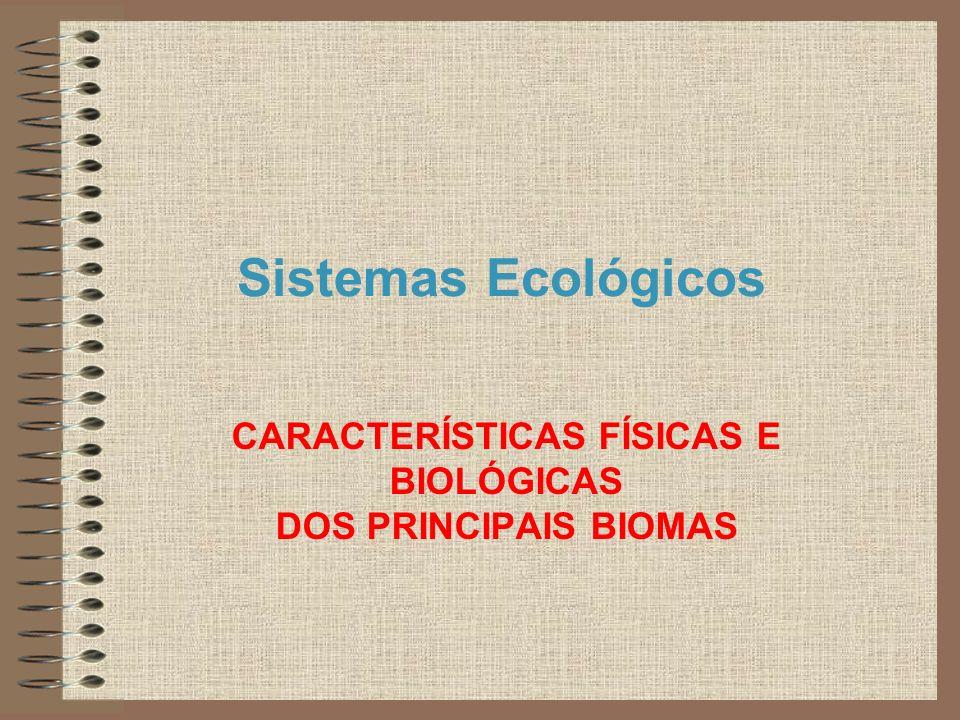 Sistemas Ecológicos CARACTERÍSTICAS FÍSICAS E BIOLÓGICAS DOS PRINCIPAIS BIOMAS