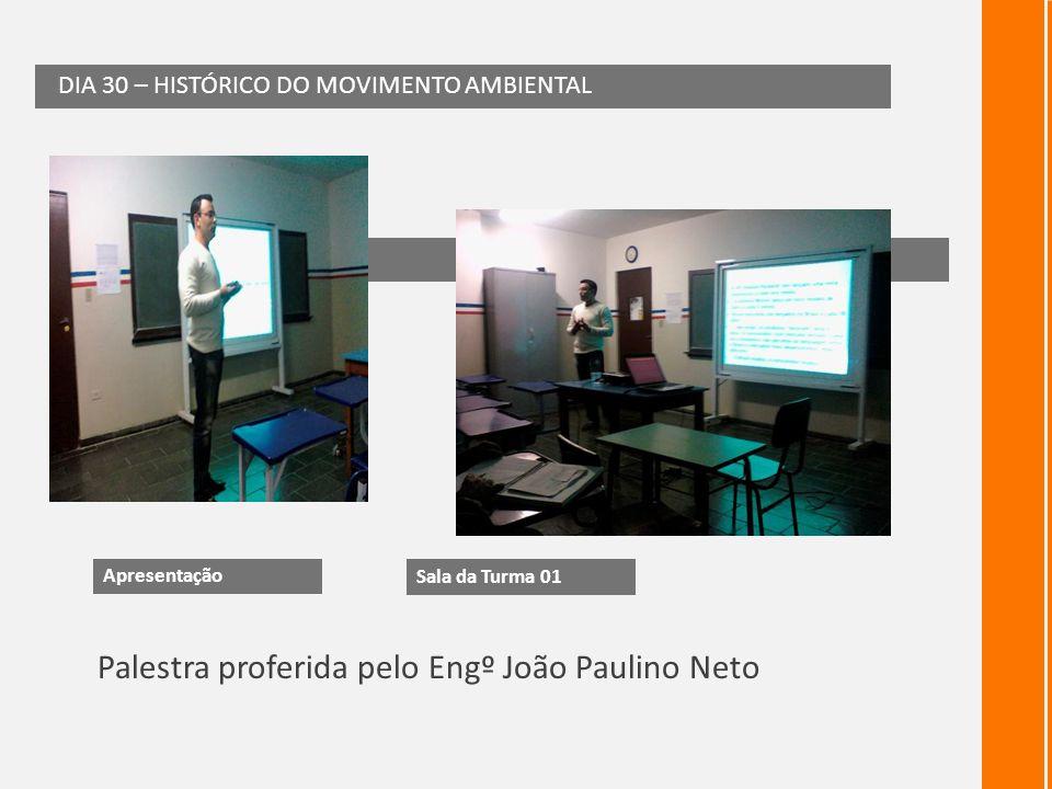 Palestra proferida pelo Engº João Paulino Neto DIA 30 – HISTÓRICO DO MOVIMENTO AMBIENTAL 30 de maio Apresentação Sala da Turma 01