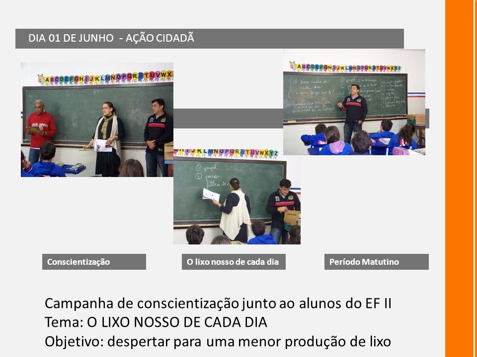 Campanha de conscientização junto ao alunos do EF II Tema: O LIXO NOSSO DE CADA DIA Objetivo: despertar para uma menor produção de lixo DIA 01 DE JUNH