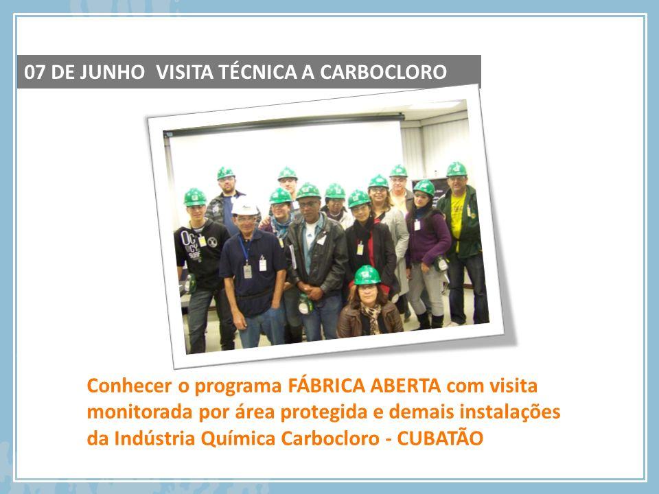Conhecer o programa FÁBRICA ABERTA com visita monitorada por área protegida e demais instalações da Indústria Química Carbocloro - CUBATÃO 07 DE JUNHO
