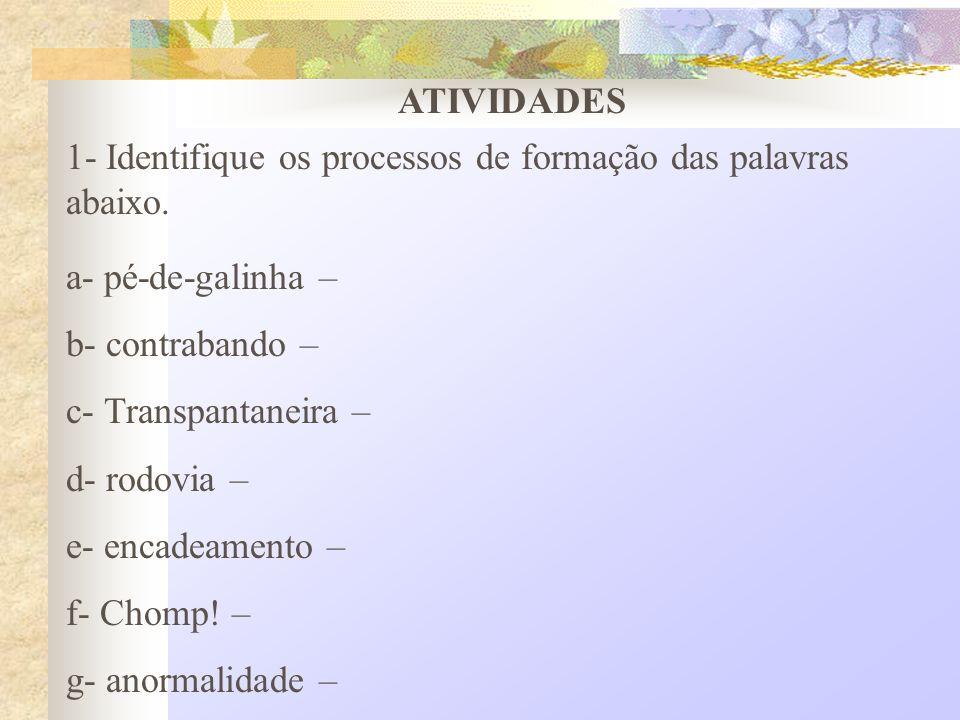 ATIVIDADES 1- Identifique os processos de formação das palavras abaixo. a- pé-de-galinha – b- contrabando – c- Transpantaneira – d- rodovia – e- encad