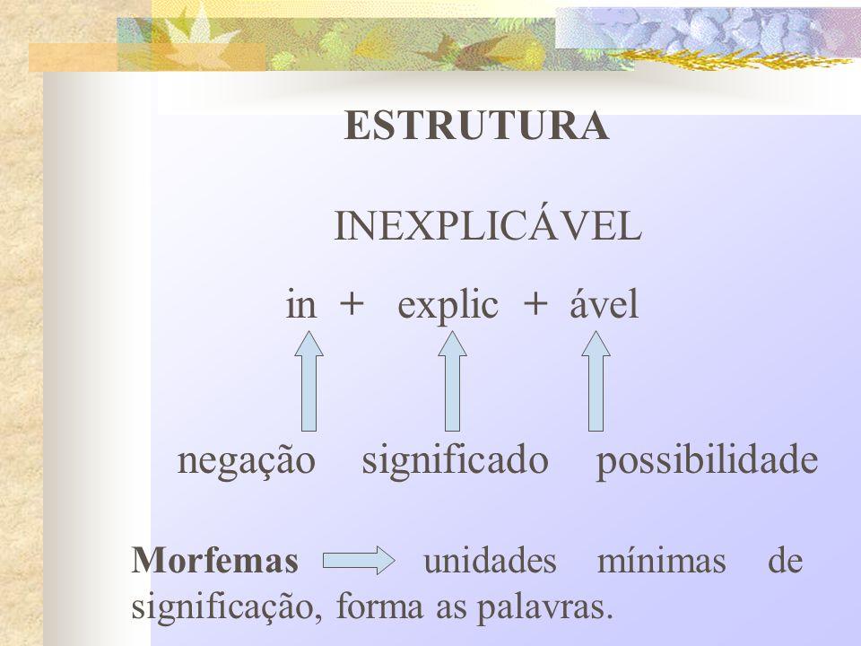 ESTRUTURA INEXPLICÁVEL in + explic + ável negação significado possibilidade Morfemas unidades mínimas de significação, forma as palavras.