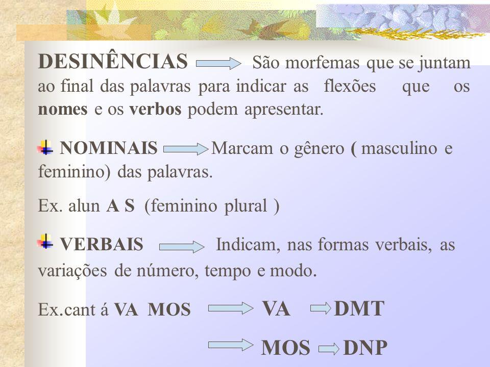 DESINÊNCIAS São morfemas que se juntam ao final das palavras para indicar as flexões que os nomes e os verbos podem apresentar. NOMINAIS Marcam o gêne