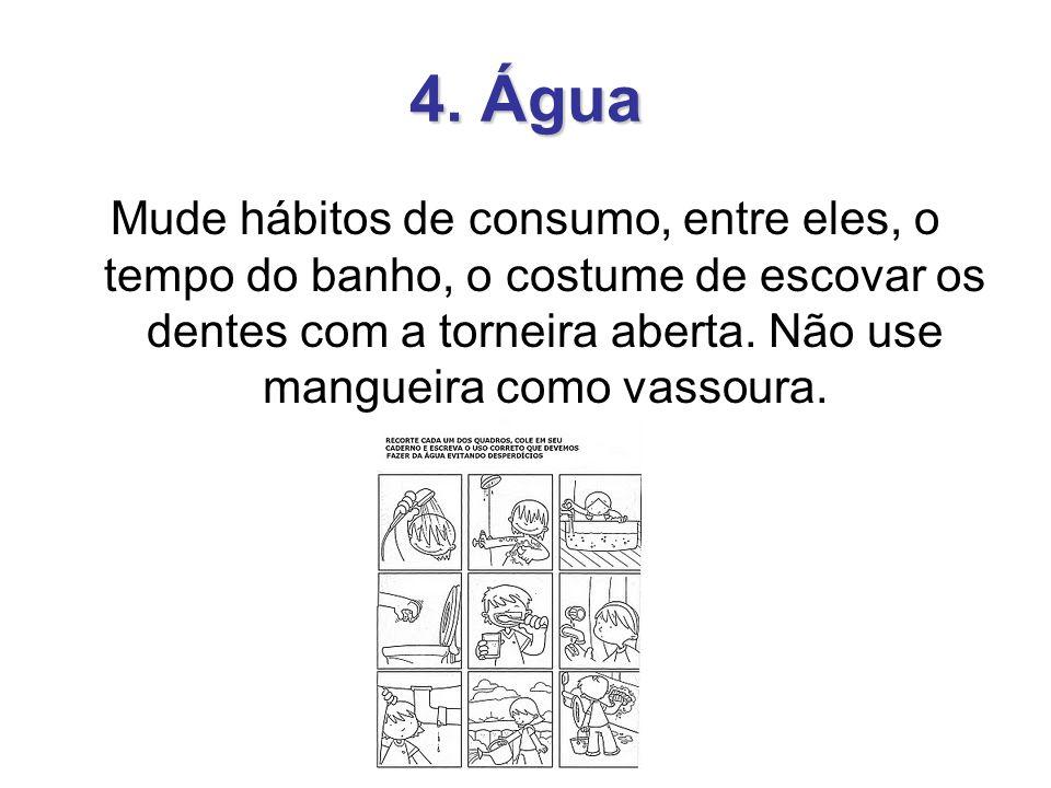 4. Água Mude hábitos de consumo, entre eles, o tempo do banho, o costume de escovar os dentes com a torneira aberta. Não use mangueira como vassoura.