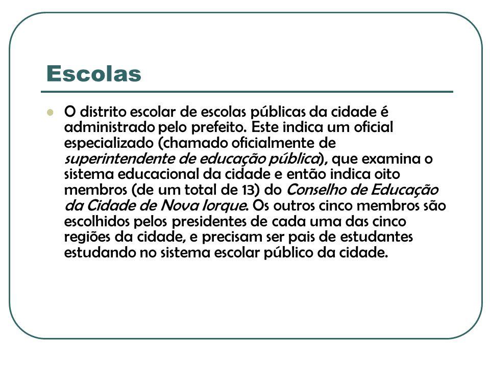 Escolas O distrito escolar de escolas públicas da cidade é administrado pelo prefeito. Este indica um oficial especializado (chamado oficialmente de s