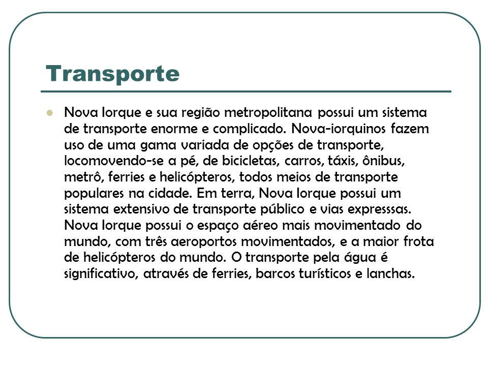 Transporte Nova Iorque e sua região metropolitana possui um sistema de transporte enorme e complicado. Nova-iorquinos fazem uso de uma gama variada de