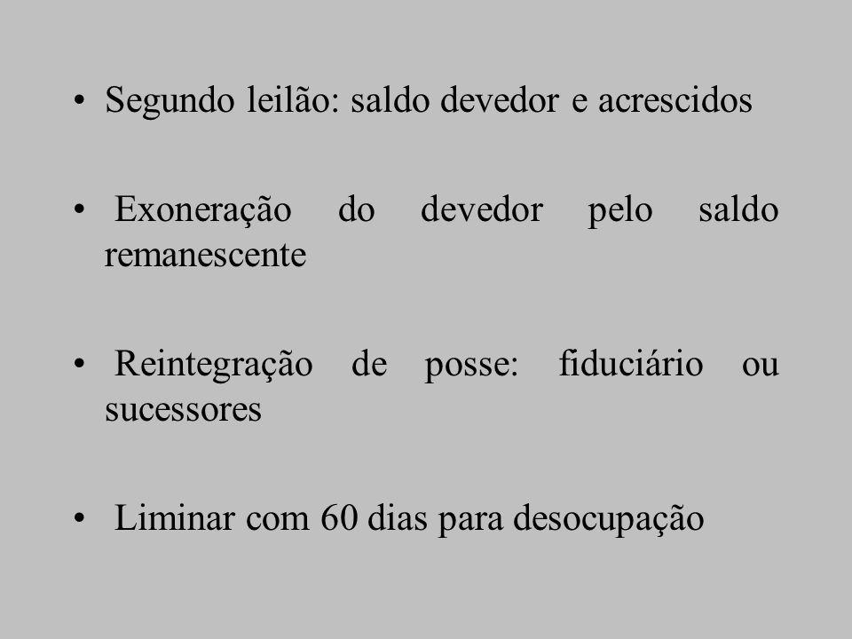 Segundo leilão: saldo devedor e acrescidos Exoneração do devedor pelo saldo remanescente Reintegração de posse: fiduciário ou sucessores Liminar com 6