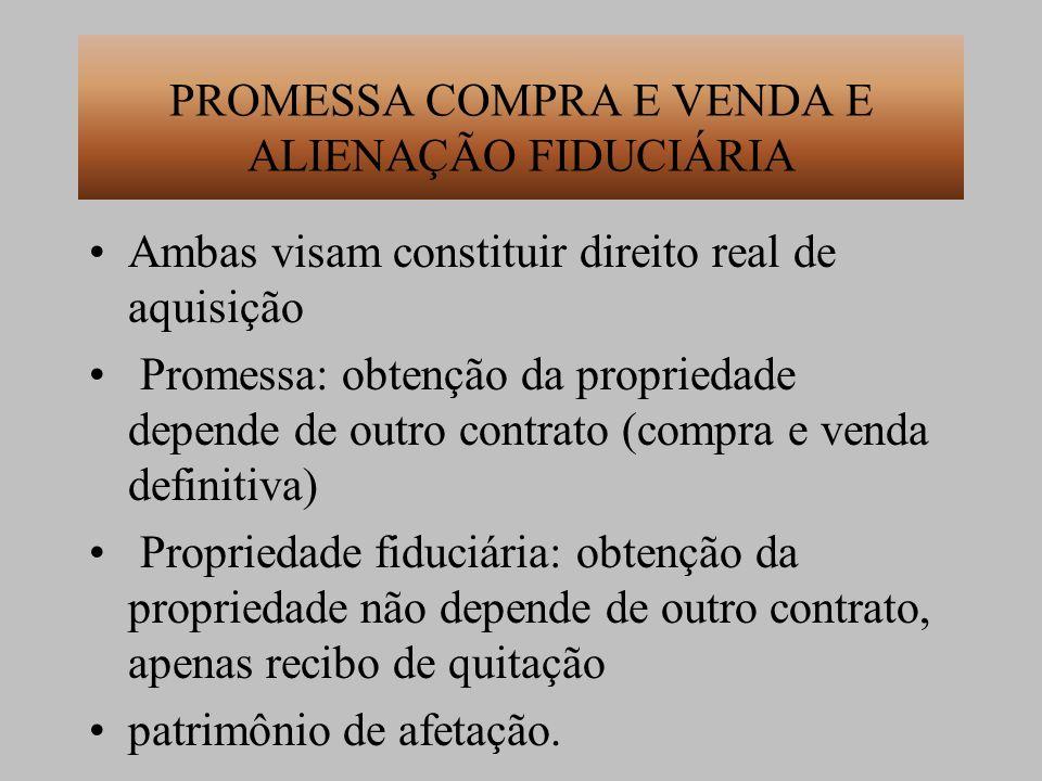 PROMESSA COMPRA E VENDA E ALIENAÇÃO FIDUCIÁRIA Ambas visam constituir direito real de aquisição Promessa: obtenção da propriedade depende de outro con